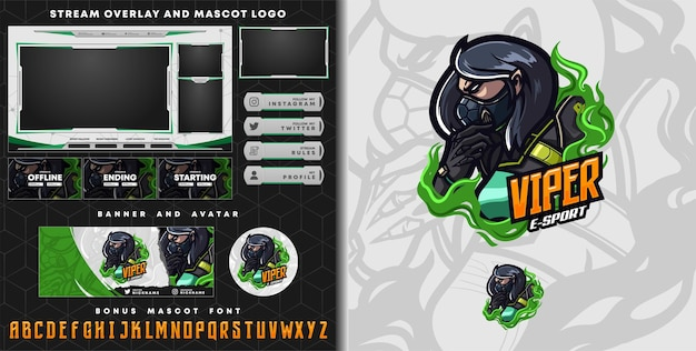 Viper mascot logo and twitch overlay template
