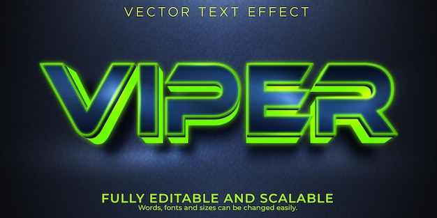 Viper text effect, editable neon and sport text style