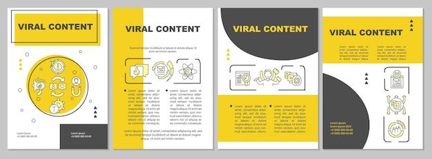 Шаблон брошюры о вирусном содержании. распространение популярных сми. флаер, буклет, печать листовок, дизайн обложки с линейными иконками. векторные макеты для презентаций, годовых отчетов, рекламных страниц
