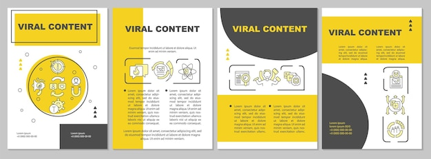 Viral content brochure template. popular media spreading. flyer, booklet, leaflet print, cover design with linear icons. vector layouts for presentation, annual reports, advertisement pages