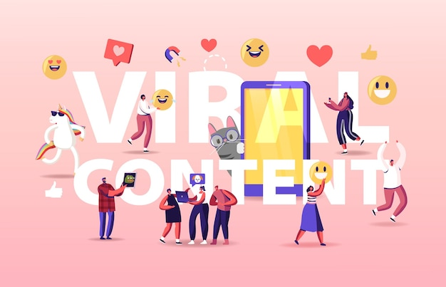 Viral content concept. tiny characters at huge mobile with funny unicorn and cat.
