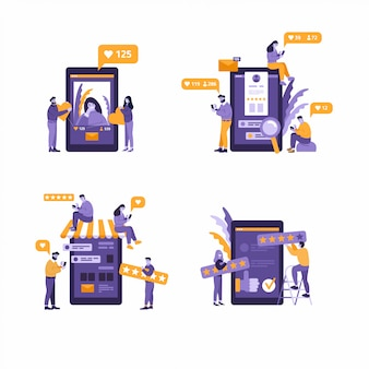 Viral content conceptual illustration. likes, shares and comments popping up on the mobile screen. video content for millennials. flat editable  illustration, clip art