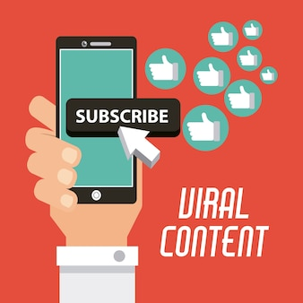 Viral content hand with mobile