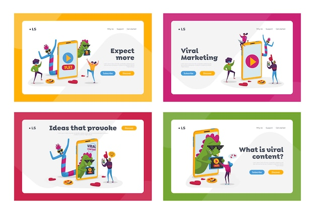 Viral content landing page template set. tiny people dance at huge mobile phone with funny characters. social media blogging, streaming, online network likes attracting. cartoon