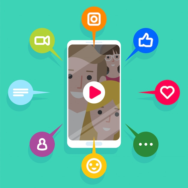 Viral content, likes, shares and comments popping up on the mobile screen