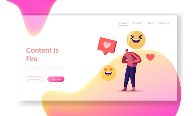 Viral content online share and broadcast in internet landing page template.
