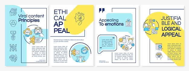 Шаблон брошюры о принципах вирусного контента. эмоциональное обращение. флаер, буклет, печать листовок, дизайн обложки с линейными иконками. векторные макеты для презентаций, годовых отчетов, рекламных страниц