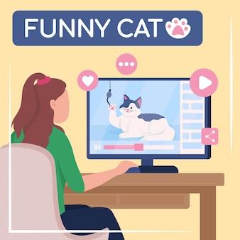ウイルスコンテンツのソーシャルメディアはモックアップを投稿します。面白い猫のフレーズ。 webバナーデザインテンプレート。インターネットメディアブースター、碑文付きのコンテンツレイアウト。ポスター、印刷広告、フラットなイラスト
