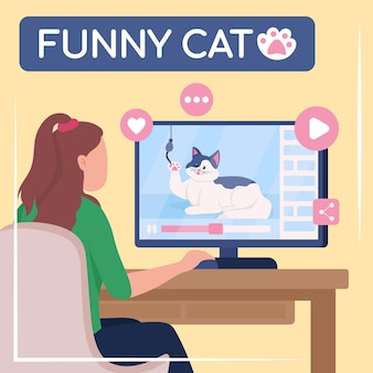 Viral content social media post mockup. funny cat phrase. web banner design template. internet media booster, content layout with inscription. poster, print ads and flat illustration