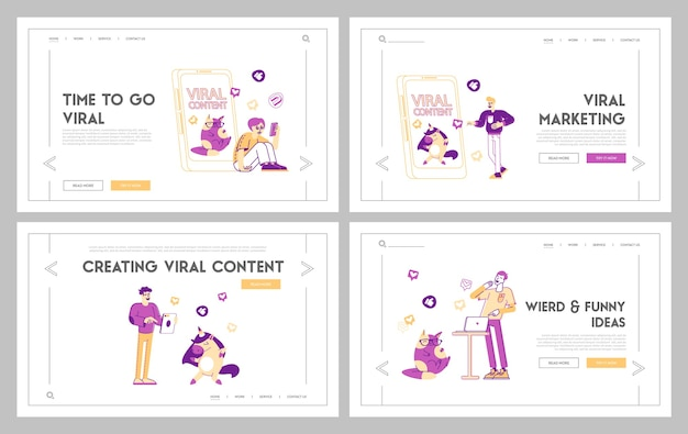 Viral content spreading landing page template set