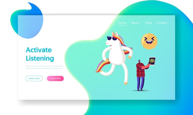 Viral content streaming, spread and share in internet landing page template.