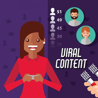 Viral content woman holding mobile with magnet attracts followers