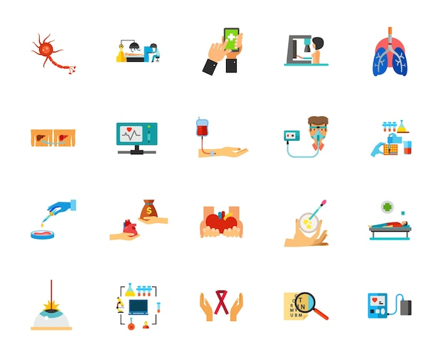Viral infection icon set
