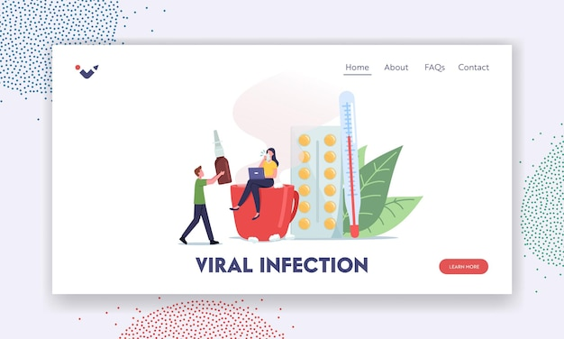 Viral infection landing page template. diseased tiny female character sit on huge cup with hot beverage near pills and thermometer, man bring remedy for treatment. cartoon people vector illustration