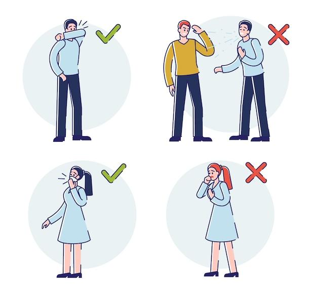 ルール付きのウイルス感染防止インフォグラフィックコロナウイルス中に正しくくしゃみをする方法