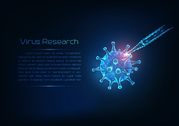 Viral infection research concept. futuristic glowing low poly flu virus cell and medical pipette.