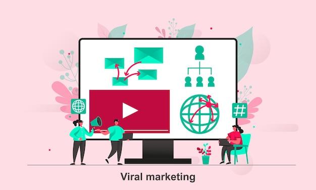 Дизайн веб-концепции вирусного маркетинга в плоском стиле с персонажами крошечных человечков