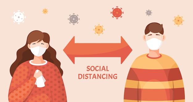 Концепция вирусной пандемии, держите социальное дистанцирование, девушка и парень в медицинских масках для лица