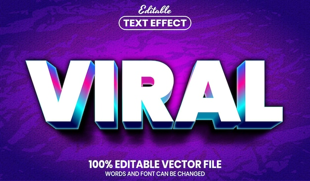 Viral text, font style editable text effect