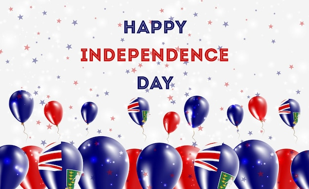 バージン諸島イギリス独立記念日愛国心が強いデザイン。バージンアイランダーナショナルカラーの風船。幸せな独立記念日ベクトルグリーティングカード。