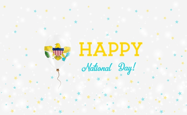 バージン諸島(米国)建国記念日愛国ポスター。ヴァージンアイランダーフラッグの色で飛んでいるゴム風船。