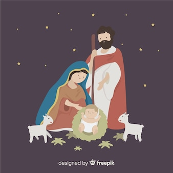 Virgin looking nativity background