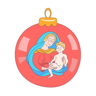 The virgin mary and the christ child on a christmas tree ball.
