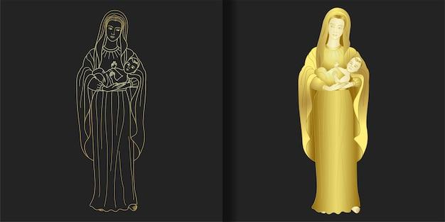 赤ん坊のイエスのプリントセットを保持している聖母マリア