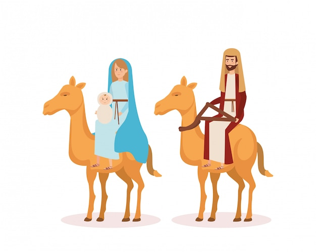 Virgin mary and saint joseph with camel