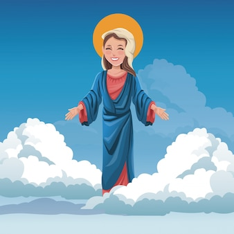 Virgin mary spiritual cloud sky background