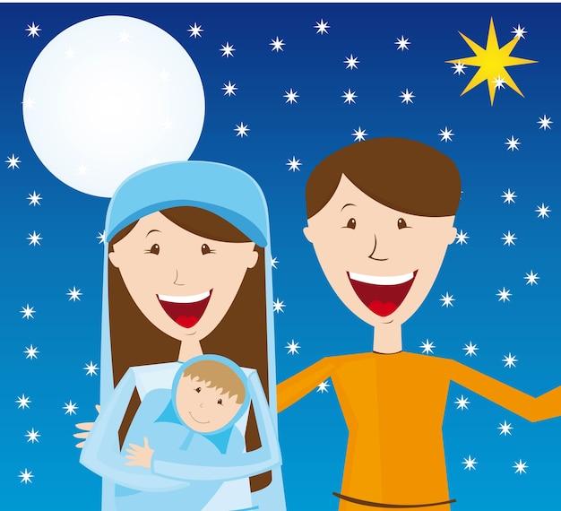 Virgin mary st joseph and baby jesus over night vector