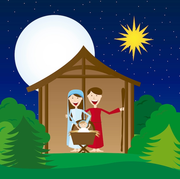 Virgin mary st joseph and jesus over landscape vector