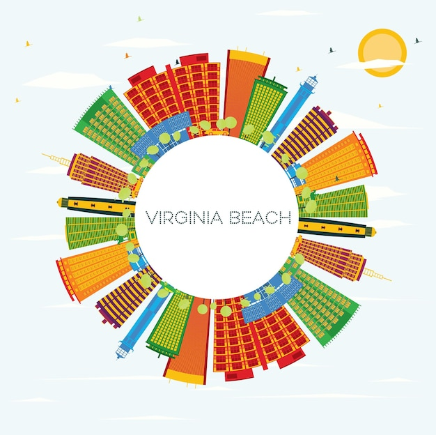Горизонт вирджинии-бич с цветными зданиями, голубым небом и копией пространства. векторные иллюстрации. деловые поездки и концепция туризма с современной архитектурой.