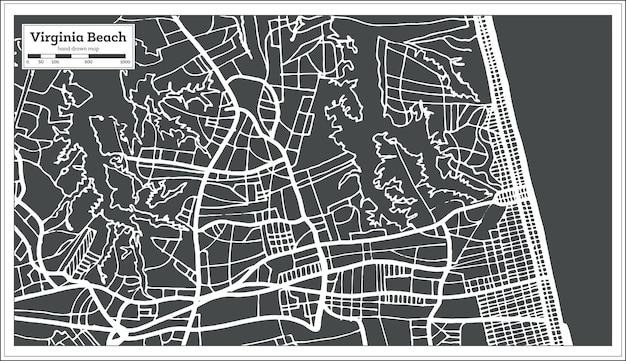 복고 스타일 버지니아 비치 미국 도시 지도입니다. 개요 지도. 벡터 일러스트 레이 션.