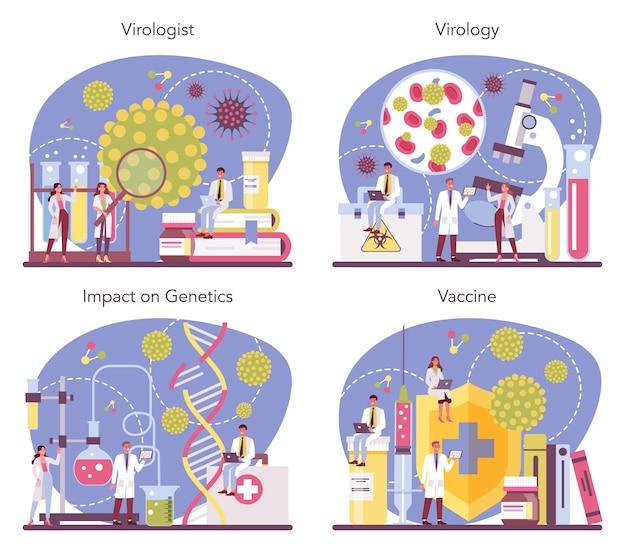 바이러스 학자 개념 만화 스타일의 그림 설정