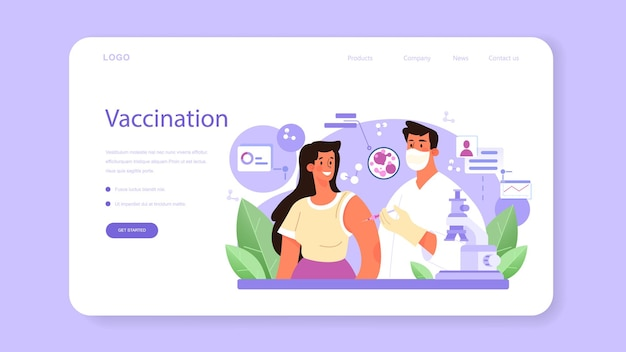 Virologist web banner or landing page. scientist studies viruses and bacteria in a laboratory. epidemic researcher working with infectios disease. vaccine development. flat vector illustration