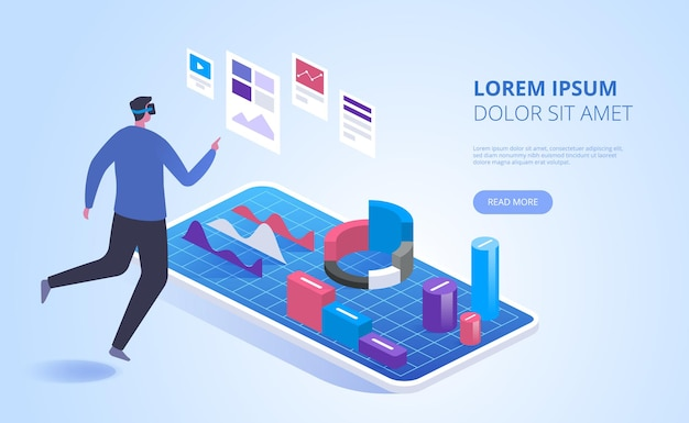 Virtual analysis landing page vector template. modern business technology website homepage interface idea with isometric illustrations. futuristic data research in vr web banner 3d concept