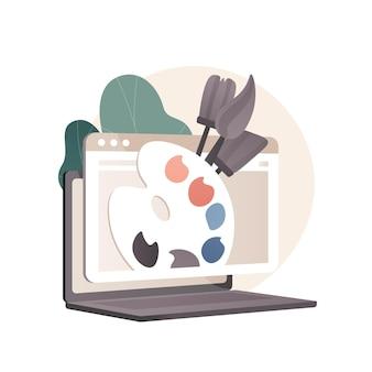 バーチャルアートとクラフトのオンラインレッスン抽象的な概念図