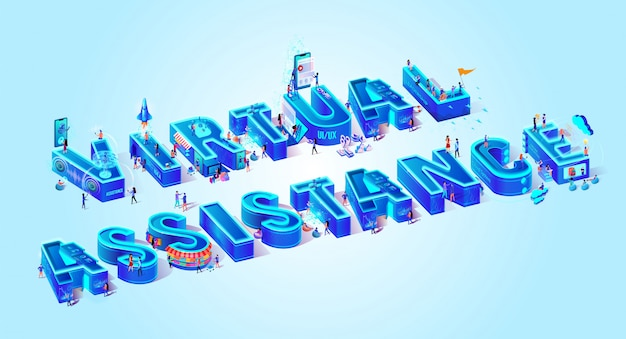 Virtual assistance town small people cloud system.
