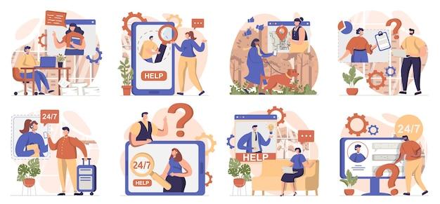 격리된 장면의 가상 비서 모음 사람들이 고객 지원에 전화를 걸어 메시지를 보냅니다.
