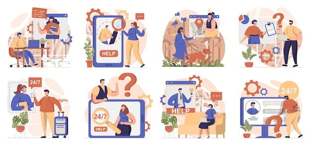 Virtual assistant collection of scenes isolated people call and send messages to customer support