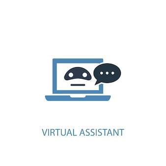 バーチャルアシスタントのコンセプト2色のアイコン。シンプルな青い要素のイラスト。バーチャルアシスタントのコンセプトシンボルデザイン。 webおよびモバイルui / uxに使用できます