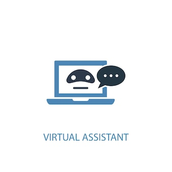 Virtual assistant concept 2 colored icon. simple blue element illustration. virtual assistant concept symbol design. can be used for web and mobile ui/ux