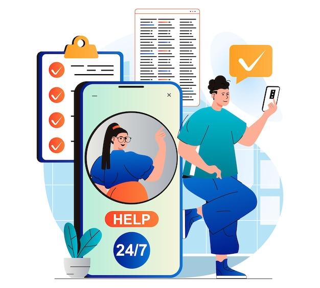 現代のフラットデザインの男性の仮想アシスタントの概念は、顧客サービスオペレーターと通信します