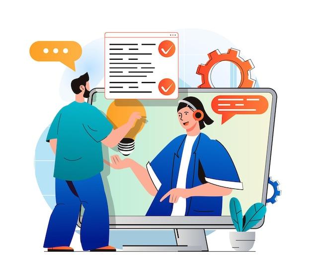 현대 평면 디자인의 가상 비서 개념 남자는 지원 서비스에 연락하고 의사 소통합니다.