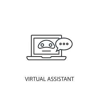 バーチャルアシスタントのコンセプトラインアイコン。シンプルな要素のイラスト。バーチャルアシスタントのコンセプト概要シンボルデザイン。 webおよびモバイルui / uxに使用できます