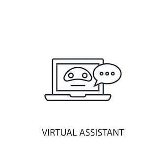 Virtual assistant concept line icon. simple element illustration. virtual assistant concept outline symbol design. can be used for web and mobile ui/ux