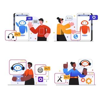 가상 비서 개념 장면은 사람들이 사용자 지원에 연락하여 온라인 봇과 통신하도록 설정합니다.
