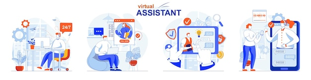 Virtual assistant concept set clients write to chats and calls to operators