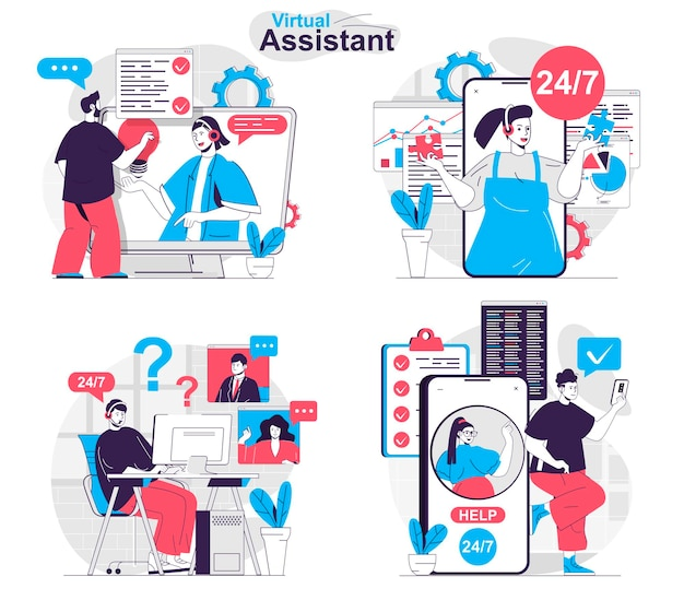 Virtual assistant concept set online communication with customers tech support